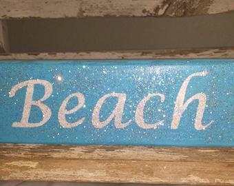Beach Block Blue Wood Glitter Block Beach Home Decor Wood Shelf Sitters