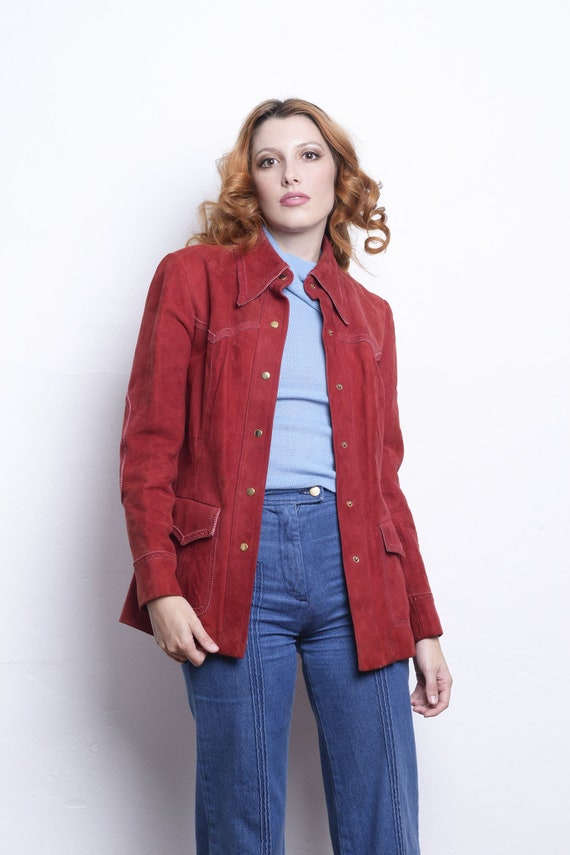 Suede Red Jacket 1970s jacket small medium suede