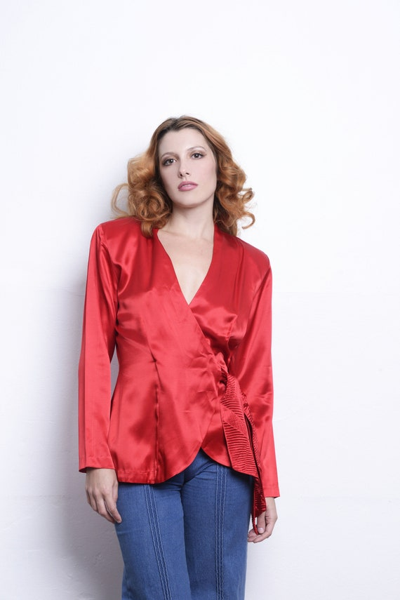 Vintage Wrap Red Satin Blouse 80s Long Sleeve Wrap