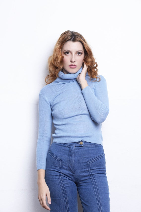 70s Knit Pullover baby blue turtleneck