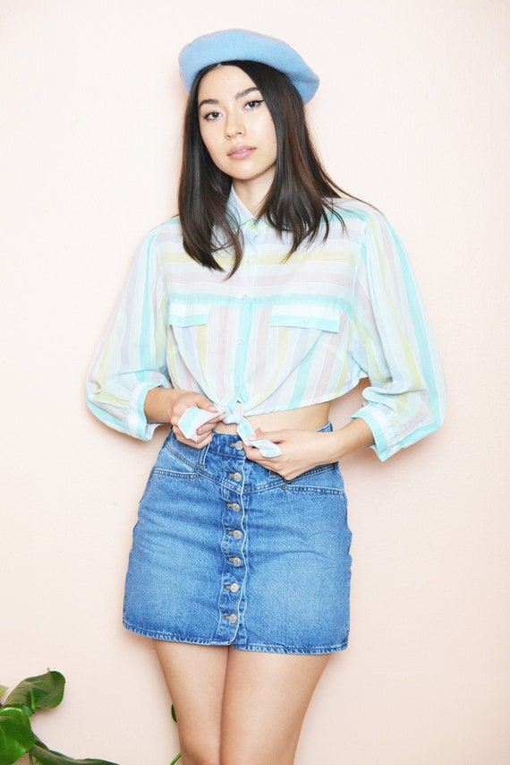 Vintage Re-worked Blouse Cropped Tie