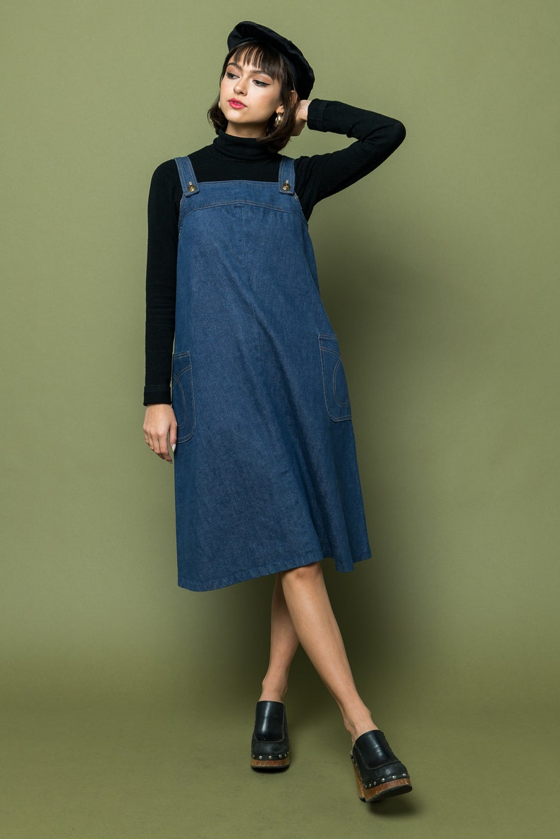 1970s Vintage Women/'s Denim Jumper Midi Overalls Women/'s One of a Kind Vintage XS Small