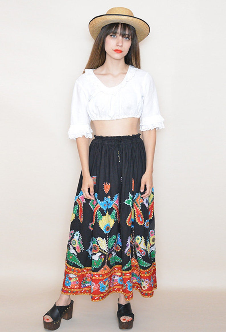 Vintage Ethnic Maxi Skirt Mexican 80s Embroidered Women