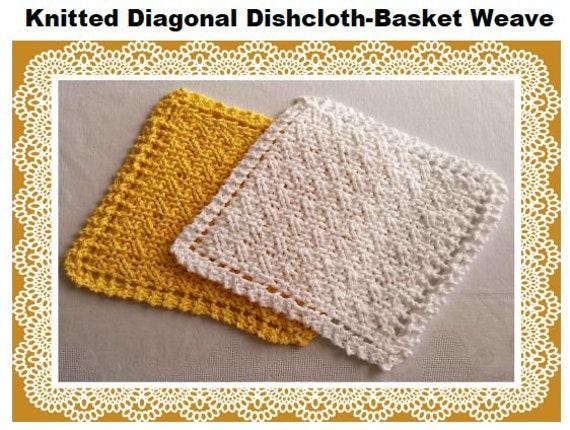 Basket Weave Knitting Pattern Knitted Dishcloth Washcloth Easy Etsy