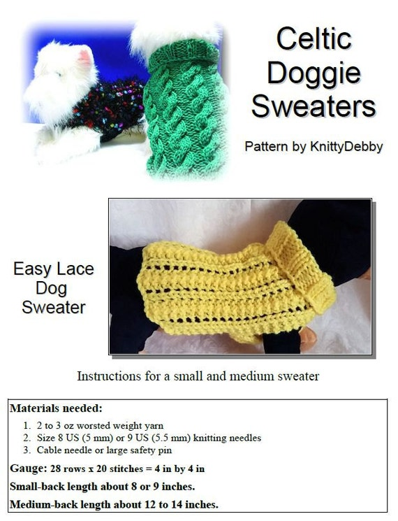 Knit Dog Sweater Knitting Pattern Easy 2 Row Lace Etsy