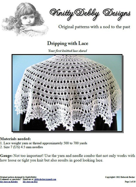Knitted Lace Shawl Dripping With Lace Easy Enough For A Etsy