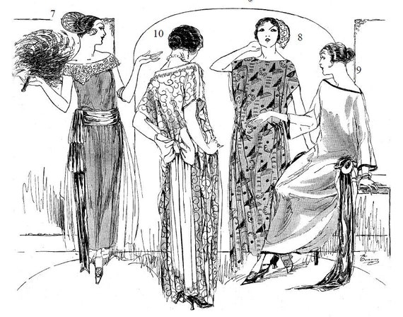 flapper dress sewing instructions two seams and two hours ten etsy 1920 Flapper Lingerie image