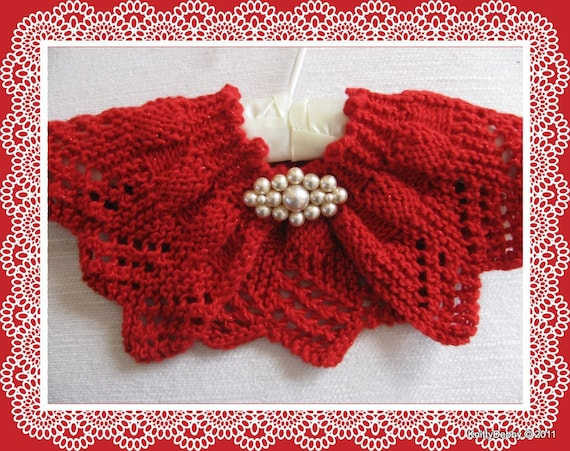 Lace Collar Or Scarf Knitting Pattern Candy Apple Red Design Etsy