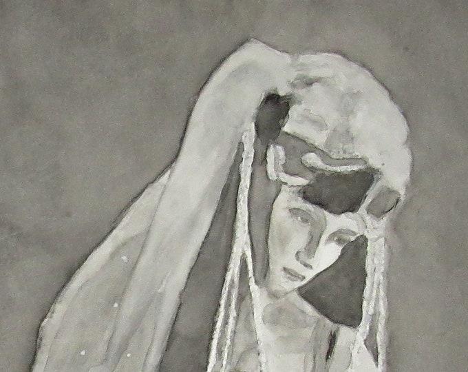 "Fine Art Giclee Print ""Contemplation"" print of original work by Christine Wallbom, free shipping"