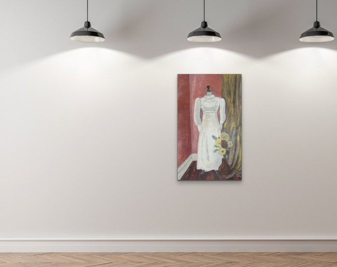"""Painting """"Mothers Wedding Dress"""" Original, Signed, By Christine Wallbom, acrylic on canvas free shipping"""