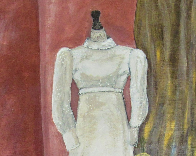 "Fine Art Giclee Print ""Mothers Wedding Dress"" print of original work by Christine Wallbom, free shipping"