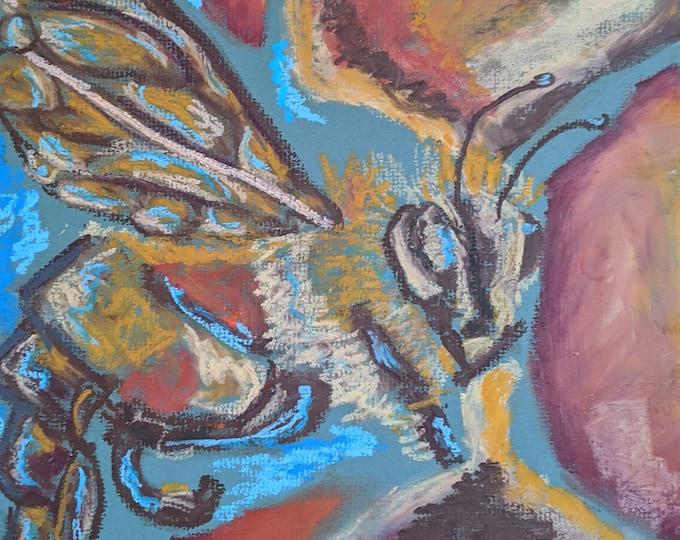 "Fine Art Giclee Print ""Bee"" print of original work by Christine Wallbom, free shipping"