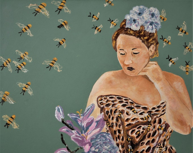 "Fine Art Giclee Print ""Consider the Bee"" print of original work by Christine Wallbom, free shipping"
