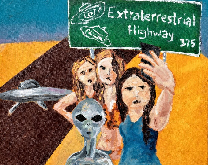 "Fine Art Giclee Print ""Detour on the Extraterrestrial Highway"" print of original work by Christine Wallbom, free shipping"