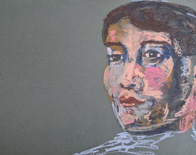 "Fine Art Giclee Print ""Sam"" print of original work by Christine Wallbom, free shipping"