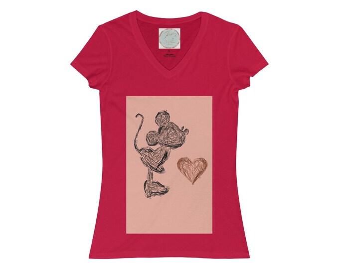 Women's Jersey Short Sleeve V-Neck Tee, Minnie Valentine