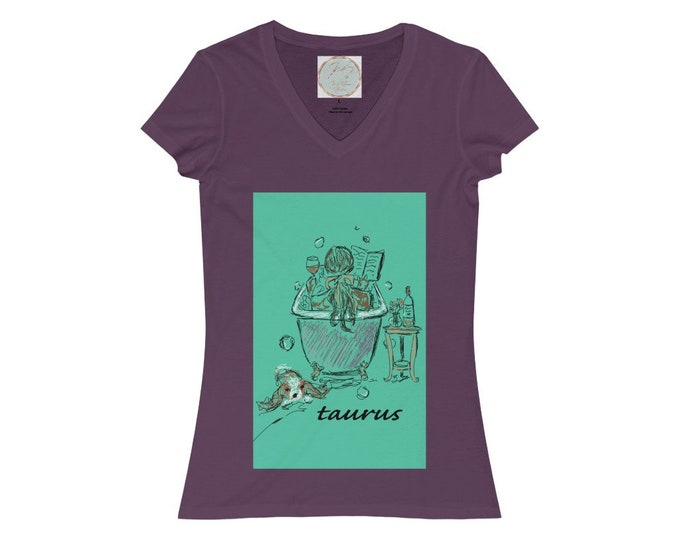 Women's Jersey Short Sleeve V-Neck Tee, taurus
