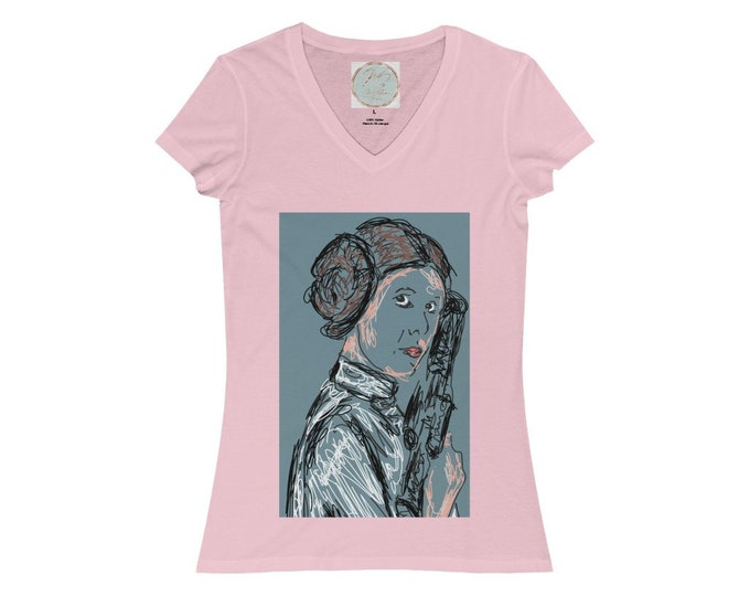 Women's Jersey Short Sleeve V-Neck Tee, Princess Leia