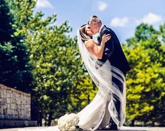 Plain 1 Tier Chapel Length Soft Tulle Veil With Raw Edge, Wedding Veil, Bridal Veil, Long Wedding Veil, Ivory Veil | VG1030
