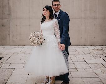 bda0a3760fb Tea length wedding dress