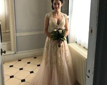 6040c3b1fb0 Blush Pink Wedding Dress Plunging Neckline