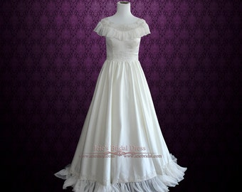 SALE   50% OFF Modest Vintage Edwardian Style Wedding Gown In Satin And  Chiffon With Embroideries | Cera | Size 0