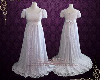 80a999c0434 Regency Edwardian Style Lace Wedding Dress with Empire Waist