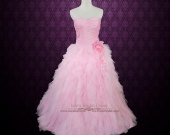 cbb1149129c Pink Wedding Dress Pink Prom Dress Pink Princess Ball Gown with Ruffles