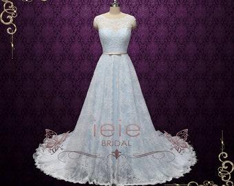 d20c12fef7a3b0 Poeder blauw kant trouwjurk met Center Split Lace rok
