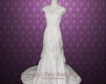 Modest Lace Overlay Wedding Dress Modest Wedding Dress | Etsy