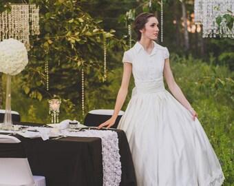 Blush Boho Lace Wedding Dress with Illusion Back Boho Wedding | Etsy