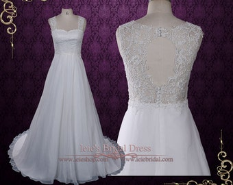 Grecian Lace Chiffon Wedding Dress with Lace Keyhole Back | Beach Wedding Dress | Grecian Wedding Dress | Lace Wedding Dress | Evon