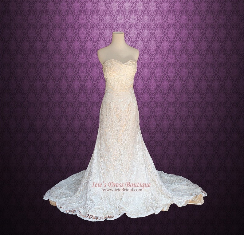 Vintage Lace Overlay Wedding Dress Lace Wedding Dress Vintage Wedding Dress Strapless Wedding Dress Princess Wedding Dress