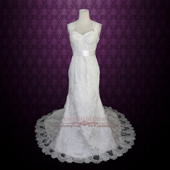 Keyhole Lace Wedding Dress With Cap Sleeves And Eye Lash And Etsy
