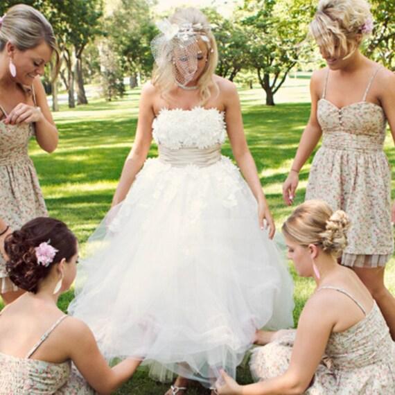 0f26544ac4f4 50s Wedding Dress Tea Length Wedding Dress Strapless Lace | Etsy
