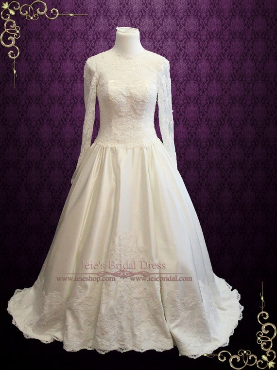 Victorian Wedding Dresses, Shoes, Accessories Victorian Style Modest Long Sleeves Lace Wedding Dress with High Illusion Neckline | Church Wedding Dress | Modest Wedding Dress | Petra $590.00 AT vintagedancer.com