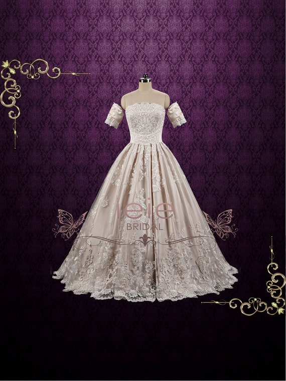 Klasyczny Szampan Koronki Suknia ślubna Sukienka Z Odpinanymi Etsy