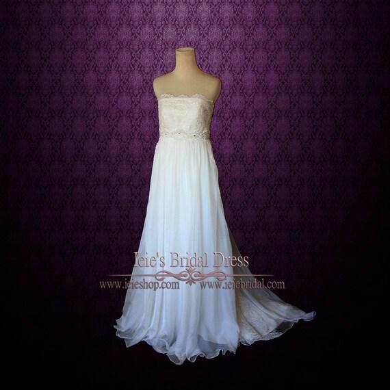 c00af8c7e5ba7 Strapless Empire Waist Chiffon Maternity Wedding Dress Lace   Etsy