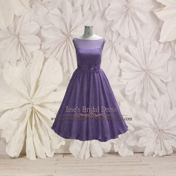 Tea Length Chiffon Modest Wedding Dress