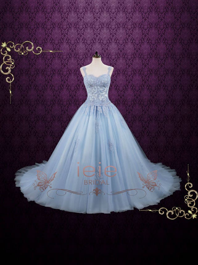 Powder Blue Cinderella Ball Gown Wedding Dress Blude Wedding | Etsy