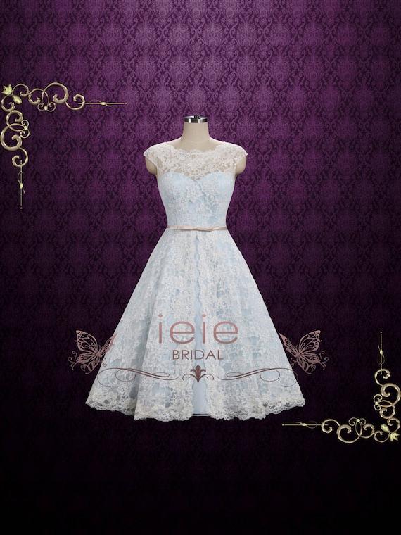 Ice Blue Vintage Lace Tea Length Wedding Dress Shannon Etsy