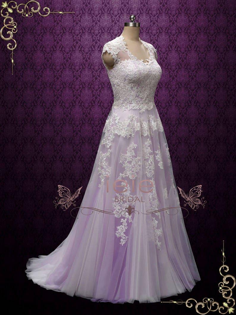 befb720d3 Purple Violet Boho Lace Wedding Dress with Illusion Back Barn | Etsy