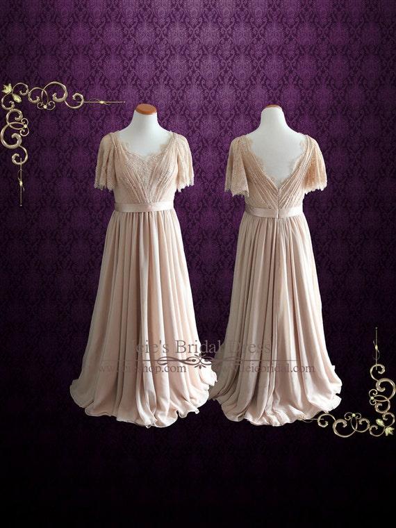 vestido de novia de gasa modesto mangas mariposa vestido de | etsy