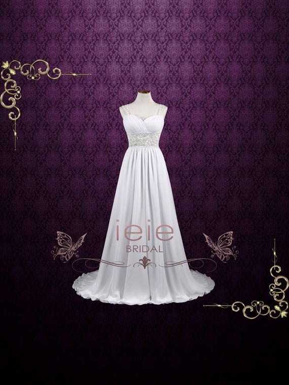 Grecian Wedding Dress With Detachable Cap Sleeves Beach Etsy