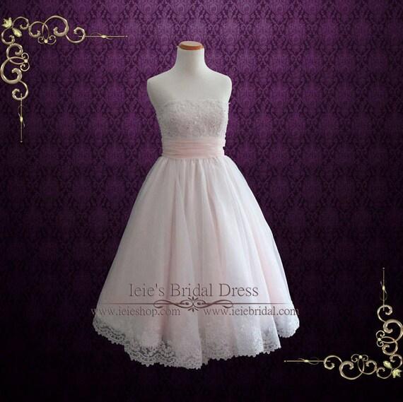 Retro Blush Pink Tea Length Lace Wedding Dress Short Wedding Etsy