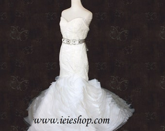 Strapless Lace Mermaid Wedding Gown with Layered Ruffle Skirt