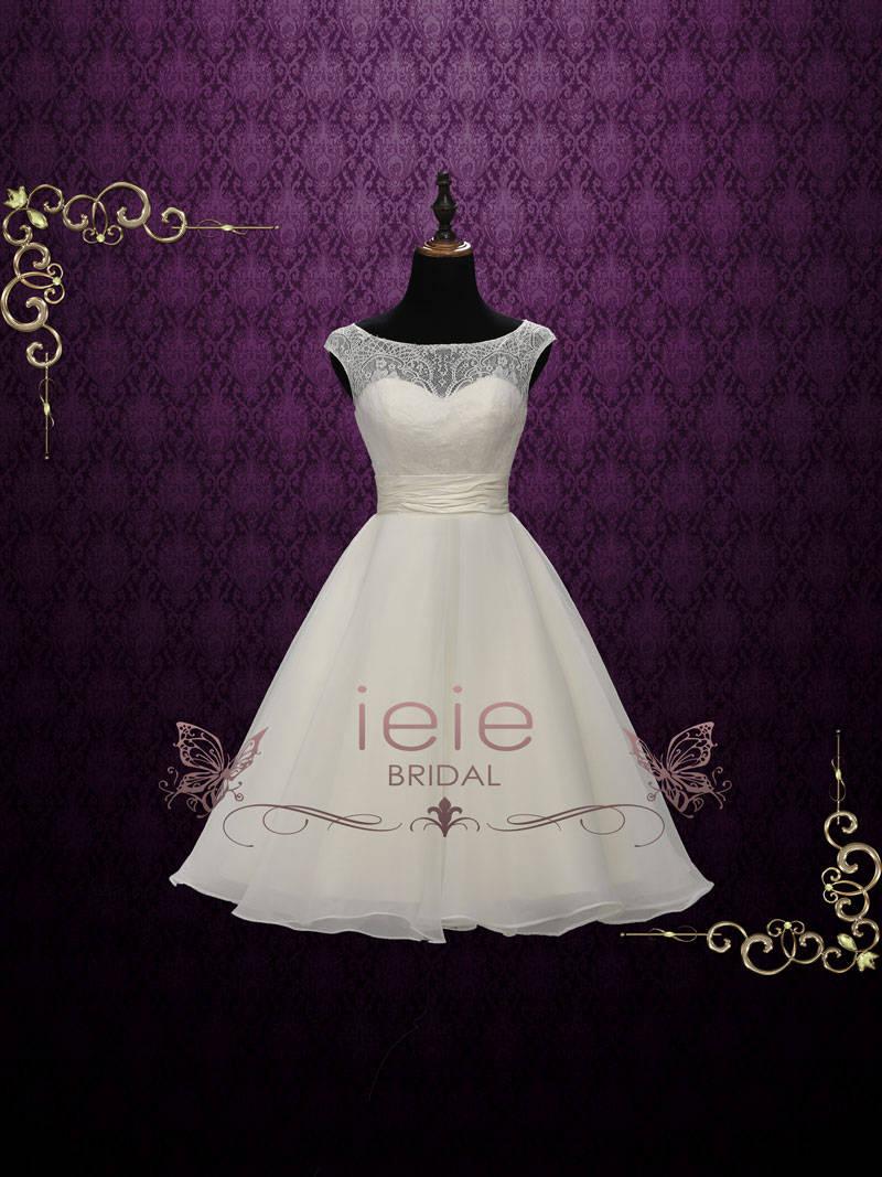 Short Retro Tea Length Lace Wedding Dress Vintage Style Etsy