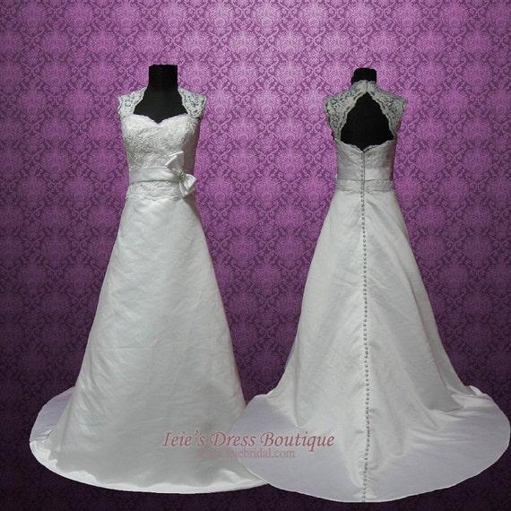 Vintage Style Cap Sleeves Keyhole A Line Lace Wedding Dress Etsy