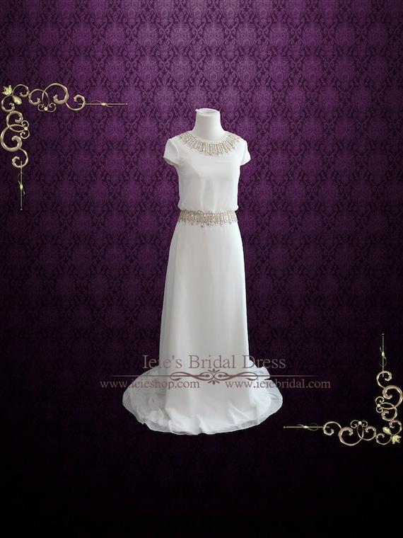 Simple Yet Elegant Chiffon Wedding Dress with Cap Sleeves | Etsy