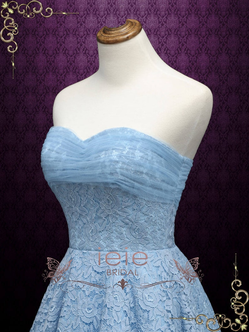 5c2a35f9e1 Retro 50s Blue Tea Length Prom Dress Homecoming Dress Sweet